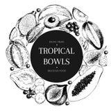 Vecotr hand drawn smoothie bowls poster. Exotic engraved fruits. Round border composition. Banana, mango, papaya, pitaya Stock Image