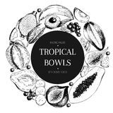 Vecotr hand drawn smoothie bowls poster. Exotic engraved fruits. Round border composition. Banana, mango, papaya, pitaya. Acai, lycgee, fig. Use for exotic Stock Image