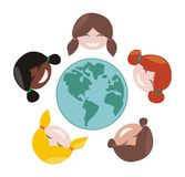 Vecotr happy mulicultural girls around the world. Happy, smiling multicultural girls group around the world. Vector illustration isolated on white background stock illustration