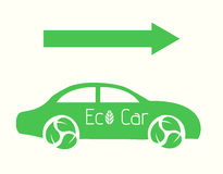Vecror Eco samochód z Strzałkowatą Płaską ilustracją eps10 Fotografia Royalty Free