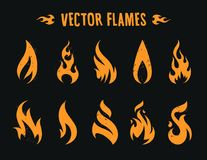 Vecstor Fire Icons. Vector Flames. Set of different fire shapes on black background Royalty Free Stock Photos