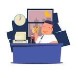Человек есть высококалорийную вредную пищу и соду на работе работа ночная - vect Стоковая Фотография