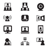 Vect de uma comunicação da videoconferência (reunião, seminário, treinamento) Foto de Stock