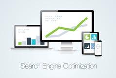 Vect för analys för marknadsföring för sökandemotoroptimization Arkivfoto