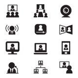 Vect för videokonferenskommunikation (möte, seminarium, utbildning) Arkivfoto