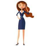 Vect liso do avatar do centro de atendimento da mulher dos desenhos animados do ícone do serviço ao cliente ilustração royalty free