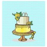 Vecteur à deux niveaux de gâteau de mariage Photo libre de droits