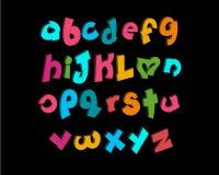 vecteur à trois dimensions des alphabets espiègles stylisés Photos stock