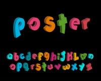 vecteur à trois dimensions des alphabets espiègles stylisés Photographie stock libre de droits