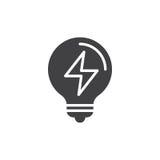 Vecteur électrique d'icône d'ampoule, signe plat rempli illustration libre de droits