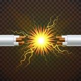 Vecteur électrique de câble de coupure Électricien Rubber Cord Câblage cuivre Étincelles de circuit illustration 3D d'isolement r illustration libre de droits