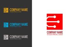 Vecteur électrique de logo de lettre d'E calibre de concept de construction de circuit illustration de vecteur