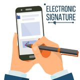Vecteur électronique de Smartphone de signature Mains d'homme d'affaires Signe de Digital Accord d'affaires Document électronique Photographie stock libre de droits