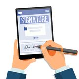 Vecteur électronique de Tablette de signature Document électronique, contrat Signature digitale Illustration plate d'isolement Illustration de Vecteur