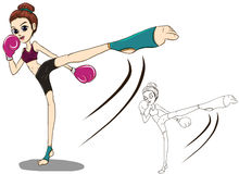 Vecteur élevé de coup-de-pied de combattant de fille de boxe Illustration Libre de Droits