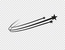 Vecteur abstrait d'étoile filante - étoile filante noire avec la traînée élégante d'étoile sur le fond blanc - météorite, comète illustration de vecteur