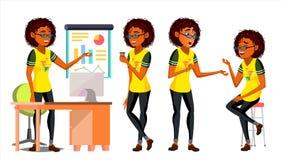 Vecteur africain de caractère de femme de couleur d'affaires Diverses vues de femme américaine fonctionnement Processus d'environ Photographie stock