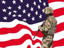 Vecteur américain fier de soldat