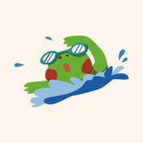 Vecteur animal d'éléments de bande dessinée de grenouille de sport Photos stock