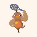 Vecteur animal d'éléments de bande dessinée de poulet de sport Photo stock