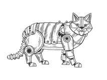 Vecteur animal de gravure de chat mécanique Photos stock