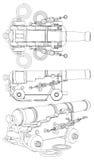 Vecteur antique d'arme à feu d'artillerie de bateau Image libre de droits