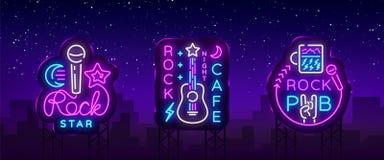Vecteur au néon de logos de collection de musique rock Basculez le bar, café, enseignes au néon de vedette du rock, symboles conc illustration libre de droits