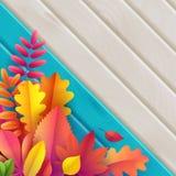 Vecteur Autumn Banner Bouquet des feuilles d'automne tombées sur le fond de turquoise avec la texture en bois illustration libre de droits