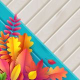 Vecteur Autumn Banner Bouquet des feuilles d'automne tombées sur le fond de turquoise avec la texture en bois illustration de vecteur