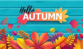 Vecteur Autumn Banner Bouquet des feuilles d'automne tombées sur le fond de turquoise avec la texture en bois Automne des textes  illustration de vecteur