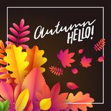 Vecteur Autumn Banner Bouquet des feuilles d'automne tombées sur le fond noir avec l'automne des textes bonjour illustration de vecteur