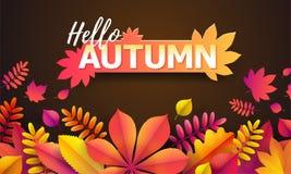 Vecteur Autumn Banner Bouquet des feuilles d'automne tombées sur le fond noir avec l'automne des textes bonjour illustration libre de droits