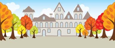 Vecteur Autumn Landscape avec les arbres et la Chambre Image stock