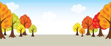 Vecteur Autumn Landscape avec les arbres, le ciel et les nuages Photo stock