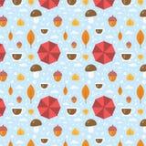 Vecteur Autumn Seamless Pattern With Leaf, tasse, gland, gouttes de pluie, parapluie Fond de style de bande dessinée Photos stock