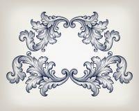 Vecteur baroque d'ornement de rouleau de cadre de vintage illustration stock