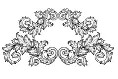 Vecteur baroque d'ornement de rouleau de cadre de vintage Photographie stock libre de droits