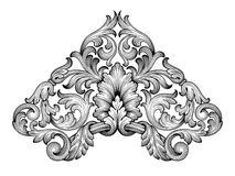 Vecteur baroque d'ornement de rouleau de cadre de vintage Photographie stock