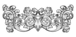 Vecteur baroque d'ornement de rouleau de cadre de vintage Photos libres de droits