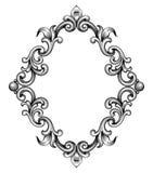 Vecteur baroque d'ornement de rouleau de gravure de cadre de vintage Images libres de droits