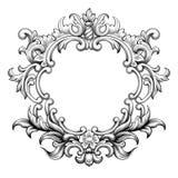Vecteur baroque d'ornement de rouleau de gravure de cadre de vintage Photo libre de droits