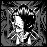 Vecteur blanc de dessin de main de noir de tête de démon de crâne illustration libre de droits