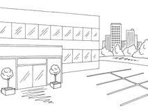 Vecteur blanc noir graphique extérieur d'illustration de croquis de centre commercial illustration de vecteur