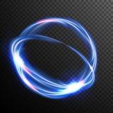 Vecteur bleu d'effet de la lumière de lueur de cercles Vague ronde Énergie instantanée au néon magique Ray léger Bon pour des ban Photos stock