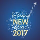 Vecteur bleu de fond de feu d'artifice de 2017 bonnes années Images stock