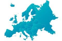 Vecteur bleu fortement détaillé de carte de l'Europe Photographie stock libre de droits