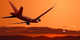 Vecteur Boeing-787 au coucher du soleil Images stock