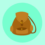 Vecteur brun illustré de sac à dos de sac Photographie stock