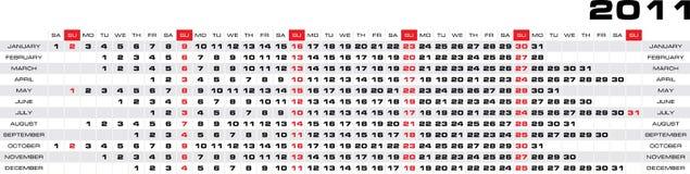 Vecteur calendrier de 2011 ans Images libres de droits
