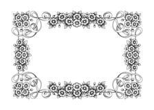 Vecteur calligraphique de rétro tatouage de modèle gravé par rouleau victorien baroque d'ornement floral de monogramme de frontiè illustration stock